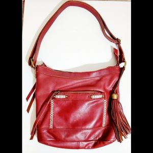 Lucky Brand Maroon Soft Leather Shoulder B…